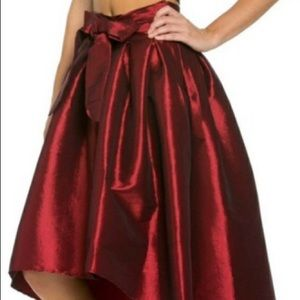 NWT haute monde sm high low w/bow burgundy skirt